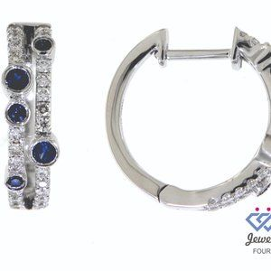 Gemstone Fancy Diamond Huggies Earrings White Gold
